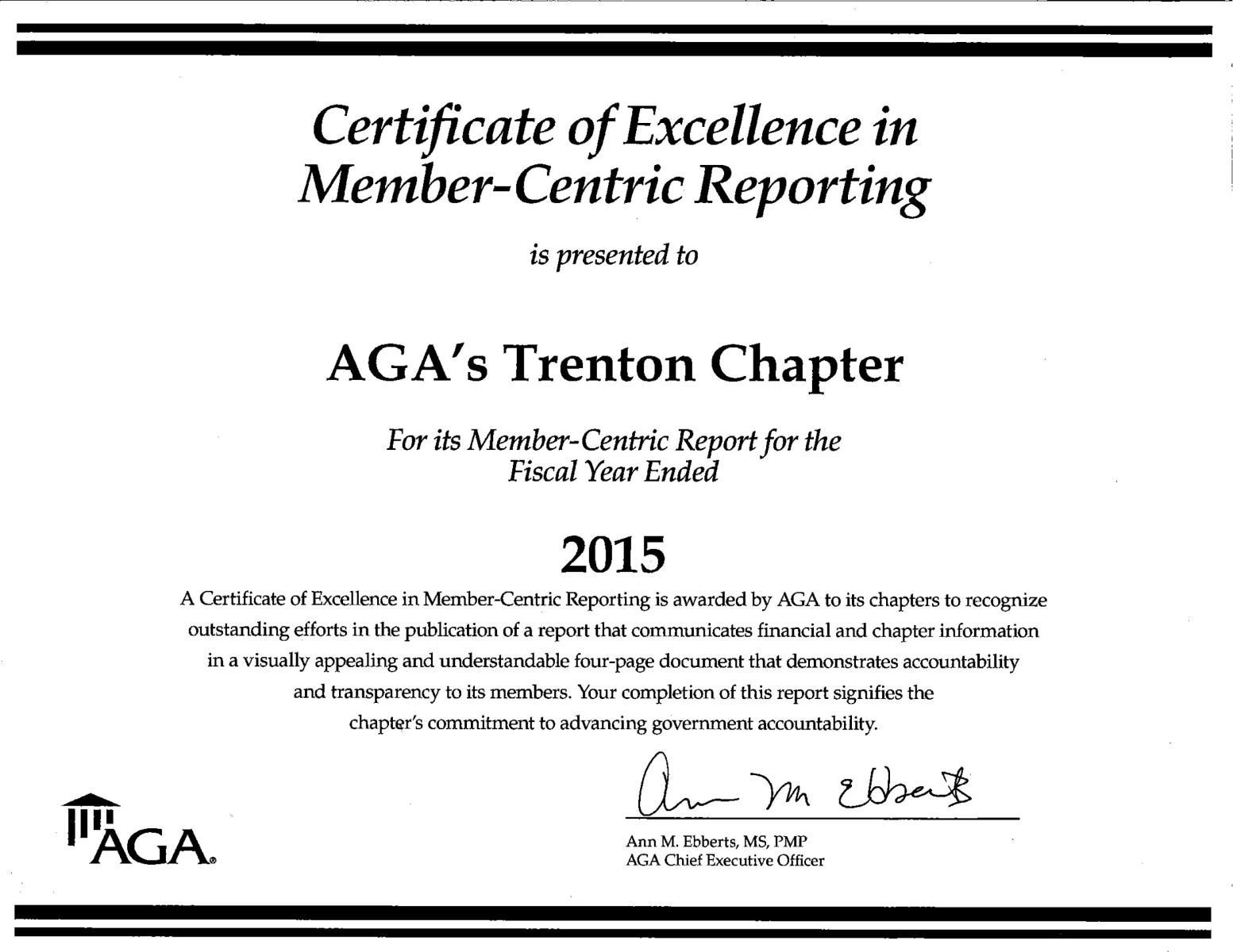 AGA Trenton Chapter Certificate of Excellence in Member-Centric Reporting 2015